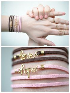 DIY Leather Wrapped Wire Word Bracelet Tutorial from Born in 82 here. I post lots of wire crafts because they are cheap, easy and so customizable. This tutorial is unique because of the way the leather is wire wrapped instead of knotted. For 20 pages more of wire DIYs (and lots of wire word jewelry) go here: http://truebluemeandyou.tumblr.com/tagged/wire