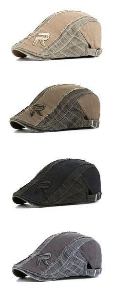 Mens Women Vintage Grid R Letter Embroidery Beret Cap Casual Visor Newsboy  Forward Beret Hat is designer 9086eb79fc70