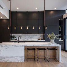 40 Modern Minimalist Kitchen Interior Design And Ideas Modern Kitchen Interiors, Home Decor Kitchen, Interior Design Kitchen, Modern Interior Design, Home Kitchens, Kitchen Modern, Family Kitchen, Kitchen Black, Kitchen Ideas