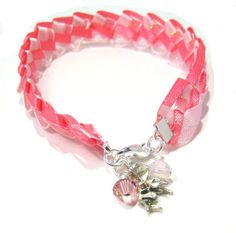 Pretty in Pink Ribbon Anklet with Swarovski by BrankletsNBling, $7.50
