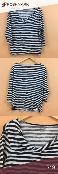 "Old Navy 3/4 Sleeve Striped Top Old Navy 3/4 Sleeve Striped  Top Size XL 60% cotton 40% modal navy and white striped ¾ sleeve pit to pit 23"" length 26"" sleeve length 17"" Old Navy Tops"