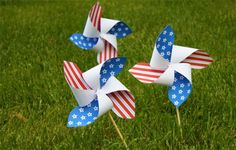 Free Printable Patriotic Pinwheels - I'm thinking just use the templete to make a blank, And use the blanks to let the kids paint their own red, white and blue designs.