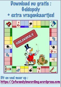 Geldopoly – Juf Wendy in wording Euro, Inside Games, Chinese Book, Busy Boxes, Monopoly, Diy For Kids, Spelling, Board Games, Homeschool