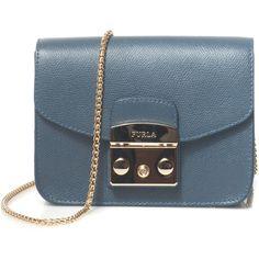 Furla Metropolis shoulder bag (255 CHF) ❤ liked on Polyvore featuring bags, handbags, shoulder bags, blue leather shoulder bag, blue leather handbags, shoulder bag purse, chain shoulder bag and blue handbags
