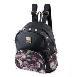 Women Cute School Bags Backpack Mini 2016 Fashion Back Pack Floral Pri f5547c1a6bfea