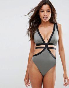 ASOS FULLER swimwear -Exklusiver, elastischer Badeanzug mit Trägern und tiefem Ausschnitt, DD bis G