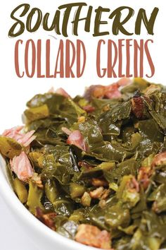 These southern collard greens are a new years day tradition but also make as a great side dish for you re everyday dinner greens collardgreens veggies ham vegetables newyearsdayfood luckyfood blackeyedpeassides cornbreadfood newyearsfood soulfood Side Dishes For Ham, Dinner Side Dishes, Dinner Sides, Thanksgiving Side Dishes, Veggie Dishes, Food Dishes, Sides For Ham Dinner Christmas, Green Vegetable Recipes, Veggie Recipes