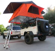 Tepui Kukenam Ruggedized XL tent on top of our Moab Fort XL expedition trailer.