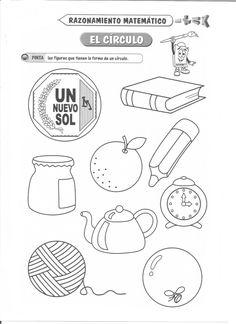 Ficha imprimible de razonamiento matemático. Tema: El círculo Actividad a realizar: Pinta las figuras que tienen la forma de un círculo