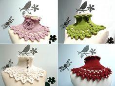 Crochet Neckwarmer / Collar with turtleneck ruffle by ixela, $55.00