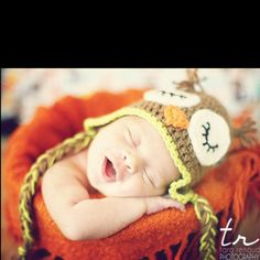 Newborn owl hat smiling. Hayden's newborn photo thanks to @Tara Renaud-Photographer