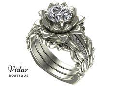 Flower Engagement Ring,Wedding Ring Set,Diamond Engagement Ring,Unique Engagement Ring,Lotus Engagement Ring,wedding ring sets,Leaves Ring