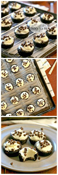 White Chocolate French Silk Pie Cookies. Double Chocolate Chip Cookie Cup filled…