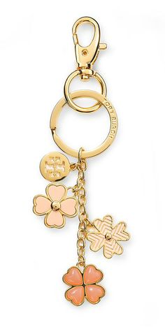 Bring a little good luck into your handbag with Tory Burch's Hanging Clover key fob. It's a stylish way to keep your keys together and makes a great gift.