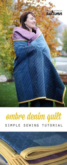 I love this updated take on a jeans quilt! Ombre denim strips with straight line machine quitting - easy enough for a beginner! Simple sewing tutorial.