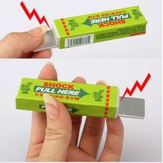 Electric Shock Joke Chewing Gum Pull Head Shocking Toy Gift Gadget Prank Trick Gag Funny