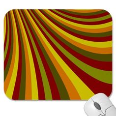 Groovy Red Yellow Orange Green Stripes Pattern Mouse Pad