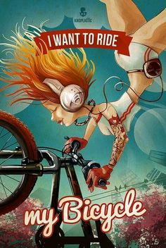 My Bicycle :: Illustration - KikoPlastic. This is how I feel when I'm on my bike! #girlfriend