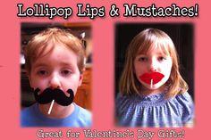 Lollipop Lips & Mustaches - Valentine's Day! via Etsy.