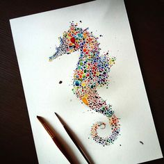 Majestic Animals Envisioned as Hundreds of Multicolored Dots by Ana Enshina
