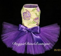 Dog Tutu Dress Purple Flowers Large Custom by DoggieDivaBoutique, $40.00