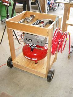 Air Compressor Cart from scrap wood projects tips woodworking Woodworking Workshop, Easy Woodworking Projects, Woodworking Shop, Woodworking Plans, Woodworking Quotes, Woodworking Courses, Workbench Plans, Woodworking Techniques, Woodworking Furniture