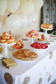 """""""Daphne's Donut Shop"""" Birthday Party By Peppermint Plum Photography - birthday brunch First Birthday Brunch, Donut Birthday Parties, Birthday Breakfast, Sleepover Party, Baby Birthday, Birthday Ideas, Spa Party, Party Shop, Pancake Party"""