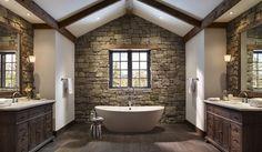 bai decorate cu piatra stone bathroom ideas