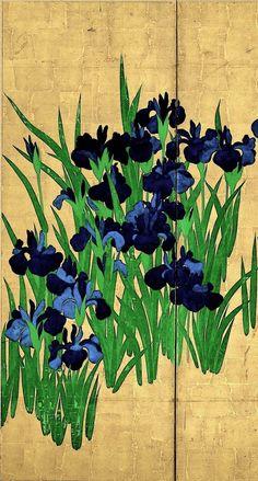 High Resolution Detail. Right screen of the Japanese National Treasure 'Irises' (18th century) by Ogata Korin - Nezu Museum. Japan. Edo period. Rinpa icon.