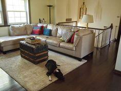 After: Raised Ranch Living Room Renovation. Behr Morning Sunlight Paint / Dark Mocha Oak Hardwood Floors