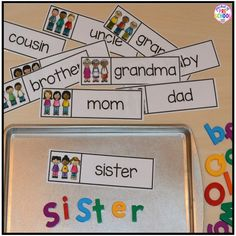 Writing center freebies perfect for preschool, pre-k, and kindergarten (family word cards, event word cards, and fancy writing paper). Fun for a back to school, family theme, or post office theme!
