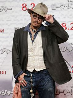 Johnny Depp at The Lone Ranger Photocall in Japan, July 16 2013