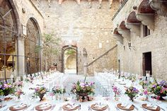 Wedding Reception Tables at a Castle in Italy