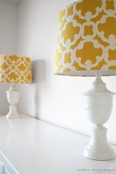DIY:  How to Update a Gaudy Lamp - tutorial shows how shiny gold lamps got a makeover with spray paint. This inexpensive project is an easy way to update your space. Sarah M. Dorsey Designs