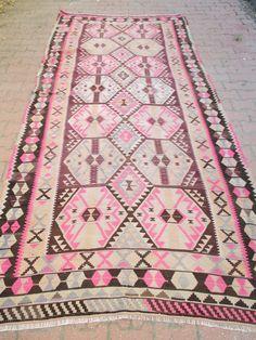 Pink Violet Color Turkish Kilim Rug Bohemian Rug Turkish Rug Home Office Rug…