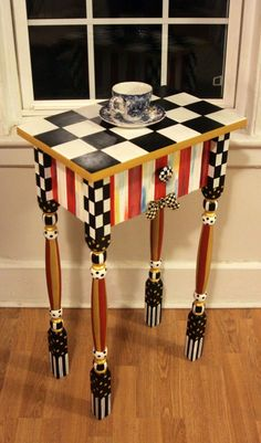 Whimsical Candy Striped Nightstand / Side / accent / end table with Checkered Ribbon Whimsical Painted Furniture, Hand Painted Furniture, Funky Furniture, Furniture Design, Furniture Stores, Chair Design, Mackenzie Childs Furniture, Mackenzie Childs Inspired, Mckenzie And Childs