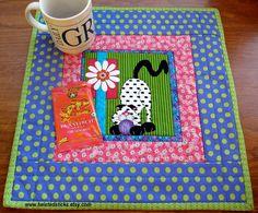 Snack Mat, Mug Rug, Crazy Cat Snack Mat, Bright Modern Colors