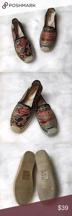 Women's Soludos Espadrille Slip-On✨ Women's Soludos Espadrille Slip-On✨ Size: 6 Condition: Used (Worn once) In great condition! Selling these for my sister who recently got married👰🏻 & would like the extra closet space. Originally purchased at Nordstrom. They are woven embroidered slip ons. Colors are very earth tone, they still have stickers at the bottom, they do not come box. Very comfy and perfect to pair with leggings and tunics😎   In Bin: F3  **All items from my closet come from a…