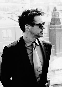 Robert Downey, Jr. Jaw line, hair, glasses, beard, suit, LOVE ALL THE THINGS ABOUT ROBERT!!! ❤