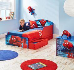 Como un super heroe se sentirá el peque de la casa con su primera cama con Spiderman, además con cajones para un almacenamiento de juguetes, ropa, etc.. #camasinfantiles #habitacionesDisney #marvel #Bainba