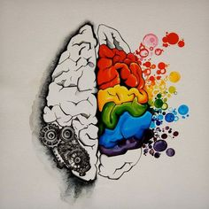 Left brain is more analytical, logical, and organizational. Right brain is more intuitive, thoughtful, and creative. People are said to refer to one side more than the other. Art Of Memory, Left Brain Right Brain, Brain Tattoo, Classe D'art, Brain Art, Brain Drawing, Arte Sketchbook, Art Classroom, Art Plastique