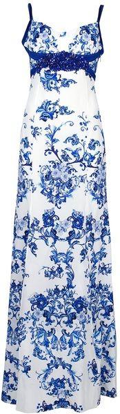 ROBERTO CAVALLI White Printed Maxi Dress - Lyst