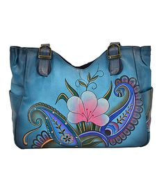 Take a look at this Anuschka Handbags Denim Paisley Floral Hand-Painted Leather Tote today!