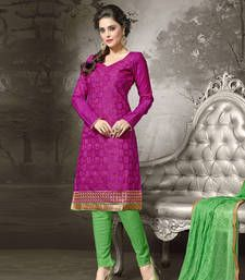 Buy Pink embroidered chanderi cotton unstitched salwar with dupatta dress-material online