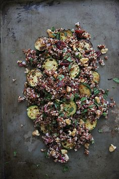 Quinoa Salad with Zucchini, Mint and Cranberries (Vegan and Gluten Free)