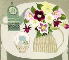 Vanessa BOWMAN - Hellebores and Green Coffeepot http://www.redraggallery.co.uk/still-life-paintings.asp
