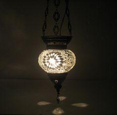 White mosaic hanging lamp moroccan lantern chandelier light lampen candle t 011  #Handmade #Moroccan