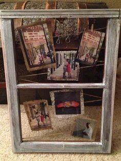 Display engagement/proposal photos behind old window. Vintage, rustic, burlap, lace.