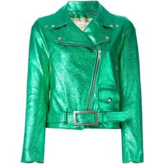 Golden Goose Deluxe Brand classic biker jacket ($940) ❤ liked on Polyvore featuring outerwear, jackets, golden goose, green, green leather jacket, rider leather jacket, genuine leather jackets, belted leather jacket and biker jacket