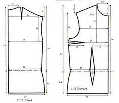 Couture - Patron de base d'un haut ou top Dress Patterns, Sewing Patterns, Sewing Basics, Basic Sewing, Techniques Couture, Fashion Design Drawings, Altering Clothes, Pattern Drafting, Designs To Draw